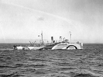 USS Oglala (CM-4) - USS Shawmut laying mines in the North Sea, October 1918.