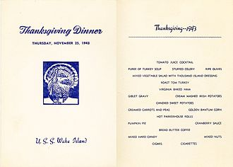 Thanksgiving dinner - 1943 Thanksgiving Day dinner menu from USS ''Wake Island'' (CVE-65)
