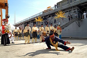 Music of Malaysia - A silat performer in Kuantan with Malay drummers in the background