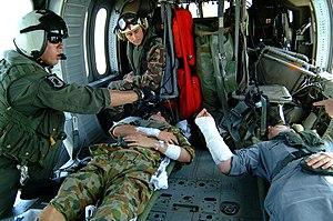 2005 Nias Island Sea King crash - The two crash survivors aboard a United States Navy MH-60S Seahawk, 5 April 2005.