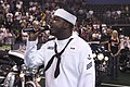 US Navy 050527-N-3390M-025 Personnelman Seaman Keith Williams-Bey, assigned to the guided missile frigate USS Ford (FFG 54), sings the National Anthem.jpg
