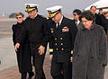 US Navy 060118-N-9706M-001 Chief of Naval Operations (CNO), Adm. Mike Mullen talks with Commander, U.S. Naval Forces Korea Rear Adm. James P. Wisecup after arriving at Osan Air Base.jpg