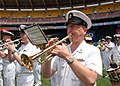 US Navy 070517-N-0773H-021 Chief Musician John P. Schroeder performs patriotic music with the U.S. Navy Ceremonial Band on the infield of RFK Stadium to open an afternoon baseball game between the Washington Nationals and Atlan.jpg