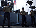 US Navy 070523-N-8923M-190 Marines stand at parade rest as amphibious assault ship USS Wasp (LHD 1) travels up the Hudson River.jpg