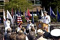 US Navy 070711-N-3390M-002 Rear Adm. James Symonds addresses the audience gathered at the Navy Region Northwest change of command ceremony at Jackson Plaza on board Naval Station Everett.jpg