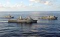 US Navy 080906-N-1082Z-295 The amphibious dock landing ship USS Carter Hall (LSD 50), the amphibious transport dock ship USS San Antonio (LPD 17), and the guided-missile destroyer USS Roosevelt (DDG 80) transit the Atlantic Oce.jpg