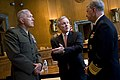US Navy 090602-N-5549O-008 Secretary of the Navy (SECNAV) the Honorable Ray Mabus speaks with Chief of Naval Operations (CNO) Adm. Gary Roughead and Commadant of the Marine Corps Gen. James T. Conway prior to testifying before.jpg