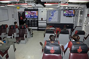 US Navy 120205-N-VA840-080 Sailors watch Super Bowl XLVI in one of the ready rooms.jpg