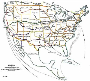 Transcontinental railroad - Transcontinental railroads in and near the United States (1887).