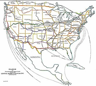 Transcontinental railroad - Transcontinental railroads in and near the United States by 1887.