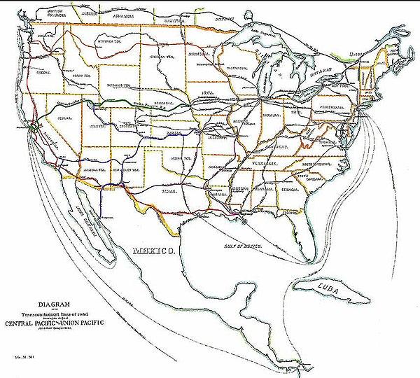 Transcontinental Railroad Wikiwand - Us transcontinental railroad map