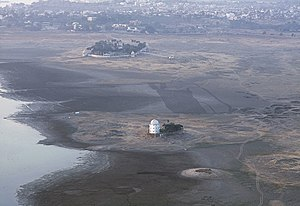Fateh Sagar Lake - Udaipur Observatory in Fatah Sagar Lake, when it is in a dry condition