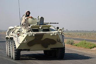 Ukraine–NATO relations - Ukrainian APC along a highway from Al Kut to As Suwayrah in Iraq (late 2003)