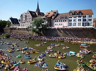 Nabada water festival in Ulm, Germany