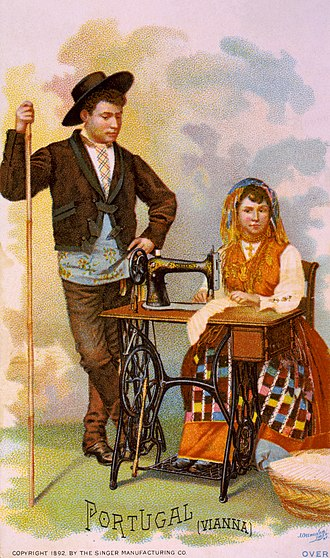 Culture of Portugal - A 19th-century Portuguese couple with typical rural clothes from Minho Province, in a Singer sewing machine advertisement card, distributed at the World's Columbian Exposition, Chicago, 1893