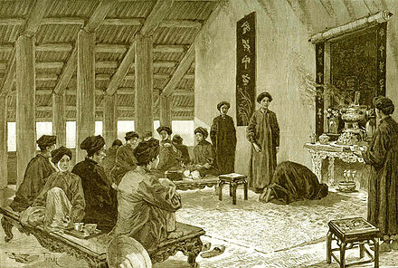 1884 drawing of a marriage ceremony in Tonkin Une ceremonie de mariage au Tonkin.jpg