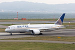 United Airlines, UA34, Boeing 787-8 Dreamliner, N29907, Departed to San Francisco, Kansai Airport (17195741392).jpg