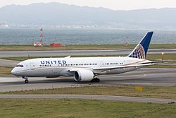 United Airlines, UA34, Boeing 787-8 Dreamliner, N29907, Departed to San Francisco, Kansai Airport (17195741392).jpg