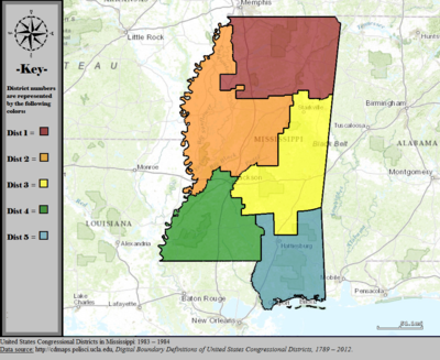 United States Congressional Districts in Mississippi, 1983 - 1984.tif