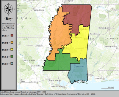 United States Congressional Districts in Mississippi, 1993 - 2002.tif