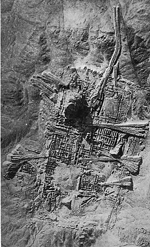 History of the city - Aerial photograph shows the remains of the Sumerian city Ur, near Nasiriyah, Iraq.