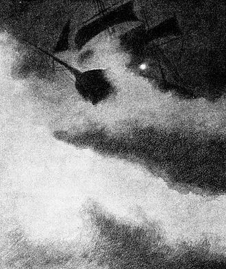 Theodor Kittelsen - Ship in Storm by a Lighthouse (1892), black and white sketch