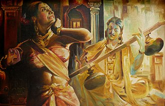 Vasavadatta - Vasavadhata - oil painting by Rajasekharan Parameswaran.