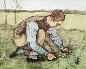 Vincent van Gogh - Jongeman, gras snijdend met een sikkel