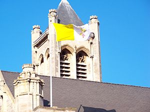 Leeds Cathedral - Flag of the Vatican City flying atop the Cathedral.
