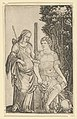 Venus standing at left resting her hand on the shoulder of Aeneas seated at right MET DP854059.jpg