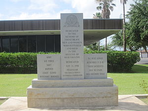 Zavala County, Texas - Veterans monument at Zavala County Courthouse grounds
