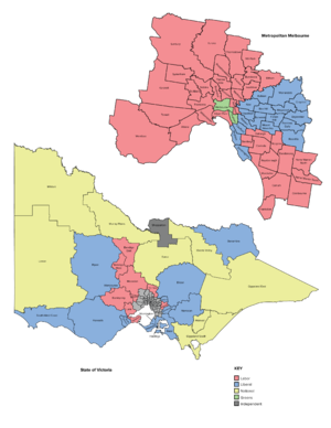 Electoral districts of Victoria - Map of current Victorian electoral districts, coloured by result at the Victorian state election, 2014