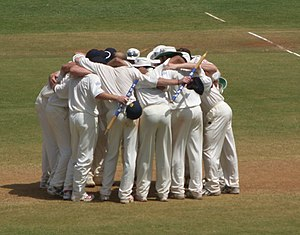 Huddle - England huddle to celebrate victory over India in Mumbai, March 2006