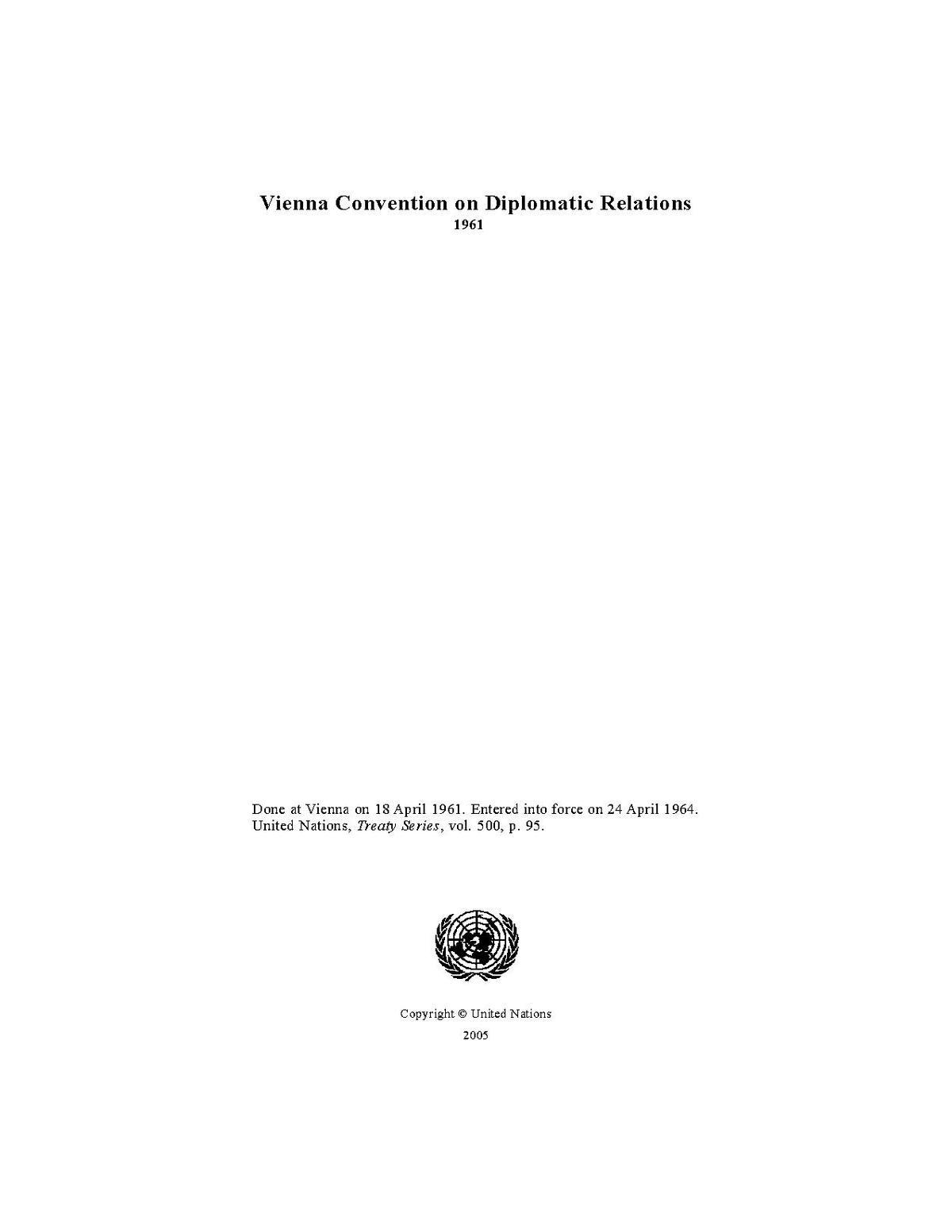 Венская конвенция о дипломатических сношениях 1961 г. Международное право