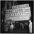 View of the Apollo Theatre marquee, New York, N.Y., between 1946 and 1948 (William P. Gottlieb 00141).jpg
