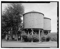 View of water tanks, facing east from Rainier Avenue - Water Tanks, Rainier Avenue, Port Gamble, Kitsap County, WA HAER WA-161-1.tif