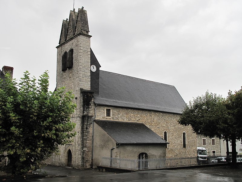 The church of Viodos with a trinitarian steeple, Pyrénées-Atlantiques, France