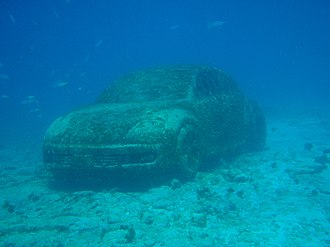 Cancún Underwater Museum - A Volkswagen car at the museum