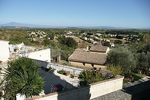 Sauveterre, Gard - Sauveterre, with the Mont Ventoux in the background (left)