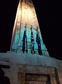 Flags on a cenotaph in Wellington for the 2007 Dawn Service. Note the flags of New Zealand, the United Kingdom and Australia(left to right)