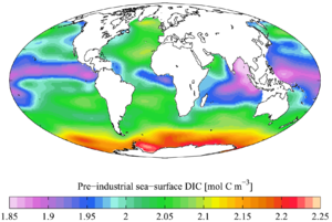 Total inorganic carbon - Pre-industrial (1700s) sea surface DIC concentration (from the GLODAP climatology).