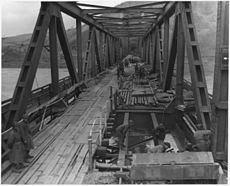 Operation Lumberjack - The Ludendorff Bridge (German: Ludendorffbrücke) four hours before it collapsed, ten days after it was captured by the Allies.
