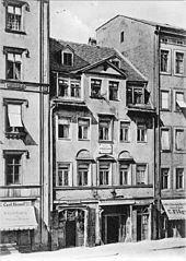 Richard Wagners Geburtshaus in Leipzig um 1885 (1886 abgebrochen) (Quelle: Wikimedia)