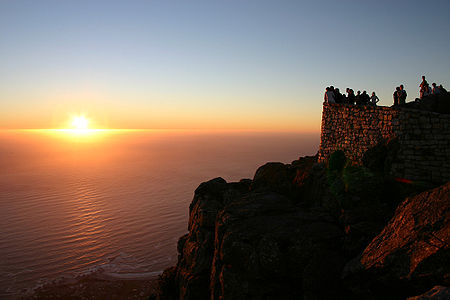 Waiting Sunset on Table Mountain, Cape Town, South Africa.