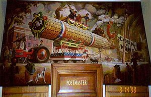 "United States post office murals - ""The Corn Parade"" (1941) by Orr C. Fisher, in the Mount Ayr, Iowa, post office"