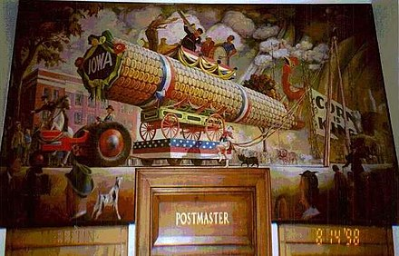 "Mural in Mt. Ayr Post Office, ""The Corn Parade"" by Orr C. Fischer, commissioned as part of the New Deal. Wall Mural, Mt Ayr, IA Post Office, 1998.jpg"