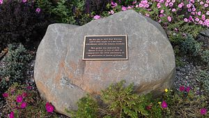Queens College, City University of New York - This marker, just outside the Student Union building, marks the original location of the one-room schoolhouse