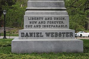 "Daniel Webster - Daniel Webster monument, Central Park, New York City, from the base: ""Liberty and Union, Now and Forever, One and Inseparable""."