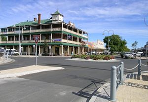 English: Main street, Wee Waa, NSW, with the I...
