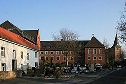 Die Wegberger Mühle mit Blick auf Kirche und Stadtverwaltung